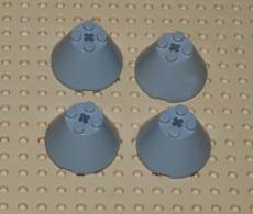Lego Lot De 4 Cone 4 X 4 X 2 Avec Trou D.essieu Ref 3943b - Lego Technic