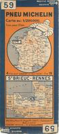 CARTE-ROUTIERE-MICHELIN-1932-N°3226-71-N°59-ST BRIEUC/RENNES-PAS DECHIREE-BE - Roadmaps
