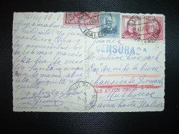CP Pour FRANCE TP 50c+ 30c+ 25c+ VIGNETTE MALLORCA 10 OBL.14 ENE 37 SOLLER (BALEARES)griffe Rouge PAR AVION JUSQU'A ROMA - 1931-50 Covers