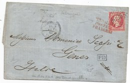 BFE TURQUIE  SALONIQUE GC 5095 S/N°24  + Càf Perlé + PD + PIROSCAFI POSTALI FRANCESE - 1864 TTB - 1862 Napoléon III.