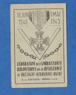 Carte Ancienne - RENNES - Fédération Combattants Volontaires De La Résistance De Bretagne Normandie Maine - WW2 - Rennes