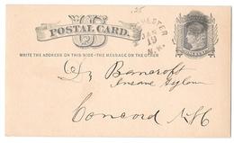 UX5 1878 Manchester NH To Concord Dr Bancroft Insane Asylum Cork Cancel Postal Card - Storia Postale