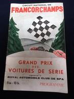 Programme FRANCORCHAMPS - Grand Prix Voitures De Série 13 Mai 1956 - Programmes