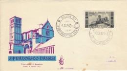 1955 - SAN FRANCESCO D'ASSISI - FDC VENETIA - 6. 1946-.. Repubblica