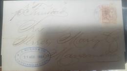 O) 1883 CUBA-CARIBE, CARIBBEAN - KING ALFONSO XII SURCHARGED OR OVERPRINTED TYPE B- 5 ON 5c, TO MANZANILLO - Cuba