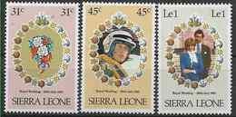 1981 SIERRA LEONE 472-74 ** Mariage Diana, Coquillages, Pilote Hélicoptère - Sierra Leone (1961-...)