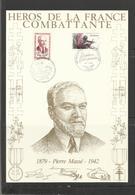 10 Pierre Massé  , Héros De La France Combattante (2ème Guerre Mondiale ) Encart Sur Soie - Guerre Mondiale (Seconde)
