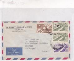 SOBRE ENVELOPE AIRMAIL CIRCULEE LIBAN TO USA. CIRCA 1958. - BLEUP - Lebanon