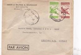 CESAR & MAURICE G MOURACADE. SOBRE ENVELOPE PAR AVION CIRCULEE LIBAN TO GERMANY. CIRCA 1953. - BLEUP - Lebanon