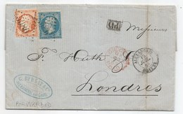 "- BFE EGYPTE - ALEXANDRIE - GC 5080 S/TP N°+22+23 + ""PD"" Noir + Càd T.15 D'ALEXANDRIE - 1863 - TTB - 1862 Napoléon III."
