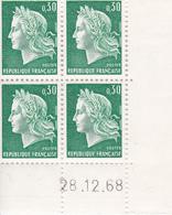 N° 1536A (28/12/1968) Et N° 1611 (12/02/1971) Ensemble De Deux Coins Datés En Timbres Neufs. - 1960-1969