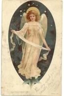 Carte Représentant Un Ange Dans Un Grand Médaillon - 1900-1949