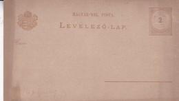ENTERO ENTIER  MAGGYAR KIR POSTA LEVELEZO LAP CIRCA 1870's UNUSED- BLEUP - Postal Stationery