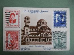 Chromo à Timbres Imprimés Carte N° 10 BULGARIE Royaume Capitale SOFIA La Cathédrale - Chromos