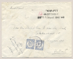 """Nederlands Indië - 1946 - Ongefrankeerde Brief Met 60 Cent Strafport Van KDP-PTT / MEDAN """"met Handjes"""" Naar Wageningen - Nederlands-Indië"""