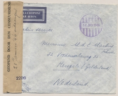 Nederlands Indië - 1946 - Ongefrankeerde Brief Met Noodstempel Batavia En Nederlandse Censuur Naar Hengelo - Niederländisch-Indien