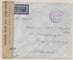 Nederlands Indië - 1946 - Ongefrankeerde Brief Met Noodstempel Batavia En Nederlandse Censuur Naar Hengelo - Nederlands-Indië