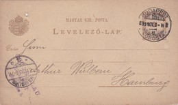 ENTERO ENTIER LEVELEZO LAP CIRCULEE BUDAPEST TO HAMBOURG CIRCA 1899 - BLEUP - Postal Stationery