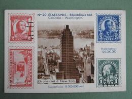 Chromo à Timbres Imprimés Carte N° 20 ETATS-UNIS République Fédérale Capitale WASHINGTON Gratte-ciel à New-York - Chromos