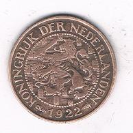1 CENT 1922  NEDERLAND /4651G/ - [ 3] 1815-… : Kingdom Of The Netherlands