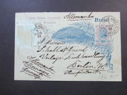 Brasilien 1898 Ganzsache / Fragekarte Nach Berlin / Deutschland. Interessante Karte?! - Briefe U. Dokumente