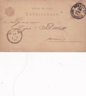 ENTERO ENTIER LEVELEZO LAP CIRCULEE BUDAPEST TO WIEN CIRCA 1886 - BLEUP - Postal Stationery