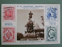 Chromo à Timbres Imprimés Carte N° 24 GUATEMALA République Capitale GUATEMALA La Statue De Christophe Colomb - Chromos