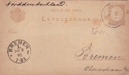 ENTERO ENTIER LEVELEZO LAP CIRCULEE BUDAPEST TO BREMEN CIRCA 1885 - BLEUP - Postal Stationery