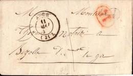 LETTRE  GERS   AUCH VALENCE AU DOS - 1849-1876: Période Classique