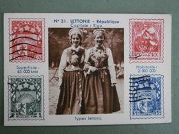 Chromo à Timbres Imprimés Carte N° 31 LETTONIE République Capitale RIGA Types Lettons - Chromos