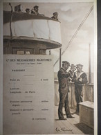 Cie Des Messageries Maritimes - Fiche De Position Vierge Ancienne - Illustrateur Léon Couturier - B.E - - Bateaux