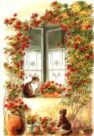 Chats Entourés De Fleurs  - Aquarelle De Danielle Lebeau - Chats