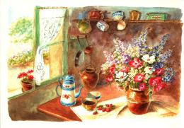 Fleurs Dans La Cuisine- Aquarelle De Danielle Lebeau - Fleurs