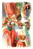 Fleurs, Chapeau,   Masques, Marionnettes- Aquarelle De Danielle Lebeau - Fleurs