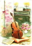Aquarelle De Danielle Lebeau- Violoncelle, Plante, Note De Musique, Bougies - Autres Illustrateurs