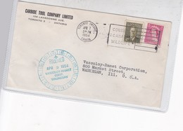 CARBIDE TOOL CO SOBRE ENVELOPE RECIVED VASCOLEOY RAMET CORP CIRCULEE CANADA TO USA CIRCA 1954 BANDELETA PARLANTE - BLEUP - 1952-.... Reign Of Elizabeth II