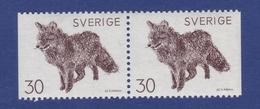 ANIMALS - ROTFUCHS Renard Roux Red Fox VULPES VULPES ART  Painting By Bruno Liljefors SWEDEN 1968 MNH PAIR Slania MI 623 - Other