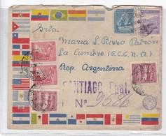 SOBRE ENVELOPE MIXED STAMPS CIRCULEE CHILE TO ARGENTINA AVEC LACRE CIRCA 1944- BLEUP - Chile