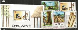 Industrie Du Bois, Bucheron,sciage,etc, Aux îles Samoa.  5 Timbres Neufs **. Yv.276/79 + BF 40,  Côte   € 12.00 - Jobs