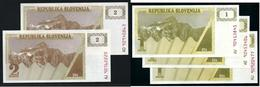 SLOVENIA 19?? - 5 Banconote  2 E 1 T. - FDC / SPL - Lotto N. 37 - (2 Foto) - Slovenia