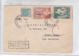 SOBRE ENVELOPE RECOMMANDE CIRCULE BRASIL TO BUENOS AIRES CIRCA 1951- BLEUP - Brazil
