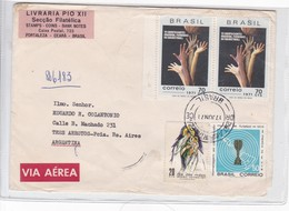 SOBRE ENVELOPE VIA AEREA CIRCULE BRASIL TO ARGENTINE CIRCA 1971 MIXED STAMPS AVEC BORD DU PLAQUE- BLEUP - Brazil