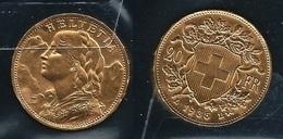 SVIZZERA 1935 LB - MARENGO - 20 Francs SPL / FDC - Oro / Or / Gold  900 / 000 - Confezione In Bustina (3 Foto) - Svizzera