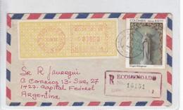 SOBRE ENVELOPE AIRMAIL RECOMMANDE CIRCULEE BOGOTA TO BUENOS AIRES 1981- BLEUP - Colombia