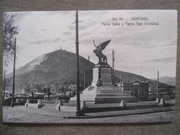 Tarjeta Postal - Chile Chili - Santiago - Plaza Italia Y Cerro San Cristobal - Hnos Ahumada 393 No. 86 - Foto Leon - Chili