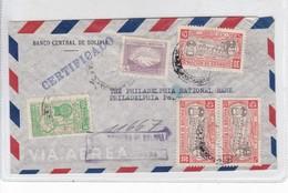 SOBRE ENVELOPE AIRMAIL AUTRES MARQUES CIRCULEE BANCO CENTRAL BOLIVIA TO USA CIRCA 1950 RECOMMANDE- BLEUP - Bolivia