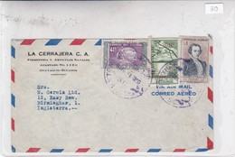 LA CERRAJERA C A SOBRE ENVELOPE AIRMAIL CIRCULEE ECUADOR TO ENGLAND CIRCA 1949- BLEUP - Ecuador