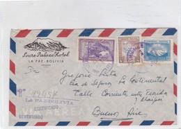 SUCRE PALACE HOTEL SOBRE ENVELOPE AIRMAIL RECOMMANDE CIRCULEE BOLIVIA TO ARGENTINE CIRCA 1951- BLEUP - Bolivia