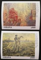 Ghana 1991 Paintings By Vincent Van Gogh S/S Pair - Ghana (1957-...)