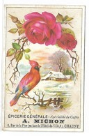 CHROMO - Epicerie Générale A. MICHON - CHAUNY - Oiseau Et Fleur - Chromo Gaufré - Chromos